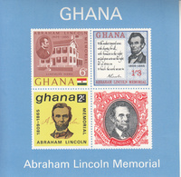 1965 Ghana Lincoln USA Slavery  Souvenir Sheet Complete  MNH - Ghana (1957-...)