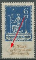 Deutsches Reich 1922 Alters- U. Kinderhilfe Mit Plattenfehler 233 V Postfrisch - Engraving Errors