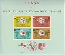 1965 Ghana ITU Communications  Souvenir Sheet Complete  MNH - Ghana (1957-...)