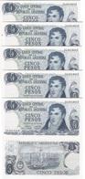 Argentina - 5 Pcs X 5 Pesos 1973 - 1976 UNC Pick 294(2) Series B Lemberg-Zp - Argentina