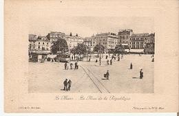 Postal Le Mans. Francia. La Place De La República.  Ref. 7f-2438 - Tranvía