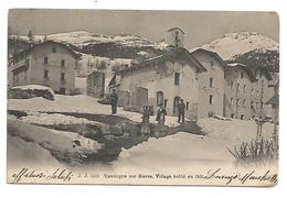 VIEILLE CARTE POSTALE DE RANDOGNE SUR SIERRE ( SIDERS )  , VILLAGE BRULé EN 1901 , 1905 . - VS Valais