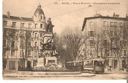 Postal Nice. Francia. Nº 92. Place Beatrix. Monument Gambetta.  Ref. 7f-2443 - Tranvía