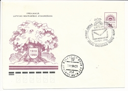 Mi U 1 FDC Stationery Cover / Oak Tree 4 May Restoration Of Independence - 18 November 1990 - Lettonie