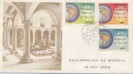 Lote 1137-5-6F, Colombia, 1967, SPD-FDC, Declaracion De Bogota, Map, Coat Of Arms - Colombia