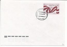 Mi U 2 FDC Stationery Cover / Flag - 24 December 1990 - Lettonie