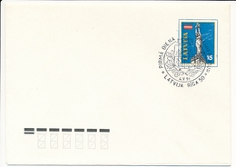 Mi U 3 II FDC Stationery Cover / Restoration Of Independence 1st Anniversary / Flag Freedom Monument Riga - 4 May 1991 - Lettonie