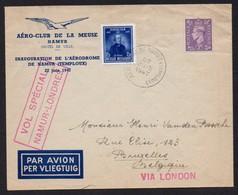 Vol Spécial Namur - Londres - Cachet Aerodrome De Temploux - Inauguration Aérodrome 22 Juin 1947  Par Avion - Marcophilie