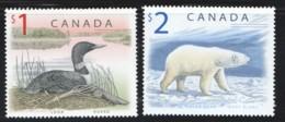 1998  $1 Loon, $2 Polar Bear Ac 1687, 1690 MNH - 1952-.... Elizabeth II