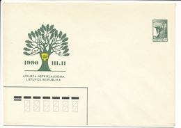 Mi U 2 Mint Stationery Cover / Restoration Of Independence / Freedom Angel - 17 May 1990 - Lithuania