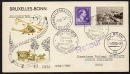 HELIPOST 1  - BRUXELLES - BONN - 1-9-1953 - 1ère Liaison SABENA - Eerste Verbinding - Marcophilie