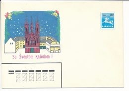Mi U 8 Mint Stationery Cover / Church Of St. Anne, Vilnius, Christmas / Vytis - 17 December 1990 - Lithuania