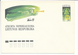 Mi U 13 Mint Stationery Cover / Restoration Of Independence 1st Anniversary / Freedom Angel Liberty Bell - 10 March 1991 - Lithuania