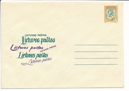 Mi U 35 Mint Stationery Cover / Vytis Definitive NVI No Value Indication - 1 May 1993 - Lithuania