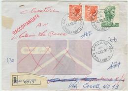 S.GIORGIO £.500+10+10 SIRACUSANA,TARIFFA RACCOMANDATA,1977,TIMBRO POSTE CARCARE(SAVONA)-CERAMICA ILSA,CARCARE, - 6. 1946-.. Repubblica