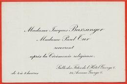Faire-part Invitation Madame Jacques BASZANGER Madame Paul TUR Hôtel George V 75008 PARIS - Mitteilung