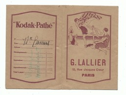 Pochette Kodak Pathé Tirage Photo G. LALLIER 12 Rue Jacques Cœur Paris Scène De Plage Baigneuse Art Nouveau - Photographie
