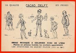 """Rare Publicité CACAO DELFT """"Les Aventures De ZIQUET PLOUM"""" N° 5 Image Magique à Colorier Avec De L'eau - Illustrateur - Publicités"""