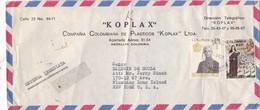 KOPLAX COMPAÑIA PLASTICOS - COMMERCIAL ENVELOPE CIRCULEE 1973 COLOMBIA TO USA - BLEUP - Colombie