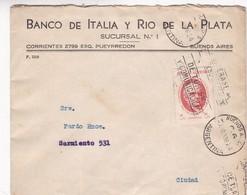 BANCO DE ITALIA Y RIO DE LA PLATA - COMMERCIAL ENVELOPE CIRCULEE 1938 ARGENTINE BANDELETA PARLANTE - BLEUP - Argentine