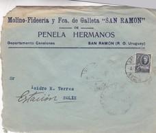 MOLINO FIDERIA Y FCA GALLETA SAN RAMON - COMMERCIAL ENVELOPE CIRCULEE 1955 URUGUAY - BLEUP - Uruguay