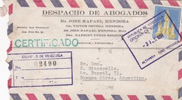 DESPACHO DE ABOGADOS - COMMERCIAL ENVELOPPE CIRCULEE 1961 VENEZUELA TO ARGENTINE RECOMMANDE - BLEUP - Venezuela