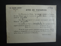 VIET-NAM DALAT  LE SACREE COEUR  AVIS DE VACANCES   1944     Mai 2019 Clas Lett - Documents Historiques