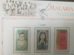 L) 1962 LAOS, MALARIA CAMPAIGN EMBLEM, GIRL, BOY, PEOPLE, MINT - Laos