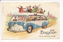 Carte Fantaisie ( Autobus Bus ) Un Bonjour De La Bazoche Gouet   ( Format C.P.A ) - Autres Communes