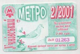 8885 Student's Monthly Ticket Kiev Ukraine Subway 2001 - Season Ticket