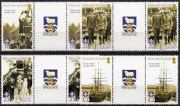 2007 Discovery Ship & Boy Scouts Set 4 Values MNH Gutter Pairs - Falkland Islands