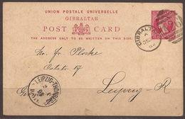 GIBRALTAR. 1894-95. 10c CARD TO GERMANY. LEIPZIG-THORNBERG ARRIVAL. - Gibraltar