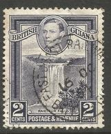 BRITISH GUIANA. GVI. 2c USED. EAST COAST RAILWAY CANCEL - Guyana Britannica (...-1966)