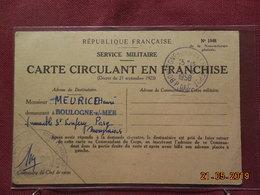 Carte De F.M De 1958 à Destination De Boulogne/Mer - Cartes De Franchise Militaire