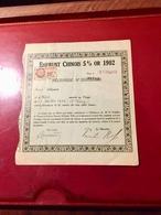 EMPRUNT   CHINOIS  5%  OR  1902 ------ Récépissé - Shareholdings