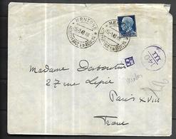 France Occuoation Italienne Lettre Censurée   De MENTON  Du 15 03 1943   Pour Paris  Affranchissement En Lires - Marcophilie (Lettres)