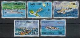 Mua195 TRANSPORT BOOT SCHIP SCHEPEN LANDKAART VLIEGTUIG JOYITA SHIPS BOAT MAP PLANE SAMOA I SISIFO 1975 PF/MNH - Boten