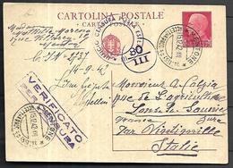 France Occuoation Italienne Entier Postal  Sur Carte Censurée De MENTON  Du 15 12  1942  Pour  Lons Le Saunier ( Jura) - Marcophilie (Lettres)
