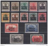 BAVIERA:  1919  SOPRASTAMPATI  -  INSIEME  14  VAL. L. -  YV/TELL. 136//151 - Nuovi