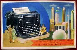 RARE Cpa PUBLICITE UNDERWOOD MACHINE à ECRIRE GEANTE ,  GIANT MASTER TYPEWRITER  14 TONS NY WORLD'S FAIR 1939 - Publicité