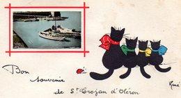 Bon Souvenir De Saint Trojan D ' Oléron - Dessin De René , Le Port En Médaillon - Ile D'Oléron