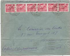 MERCURE 5C ROSE BANDE DE 6 LETTRE C. PERLE COUSSERGUES AVEYRON 24.11.1940 AVEYRON AU TARIF - 1938-42 Mercure