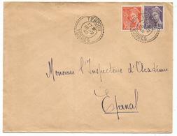 MERCURE 60C+40C  LETTRE REC FACTEUR BOITIER TENDON 10.2.40 VOSGES - Marcophilie (Lettres)