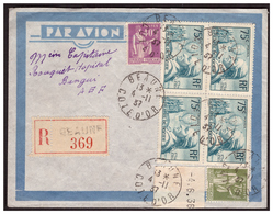 Bloc De 4 Du N° 313 Sur Lettre Rec. De BEAUNE Pour BANGUI ( A E F ) Du 4.11.37. - Briefe U. Dokumente