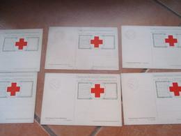 Edizione CROCE ROSSA Illustratore T.Cascella Serie Completa N.1 N.6 Differenti Cartolina Postale Comm.IV Guerra Indipend - Red Cross