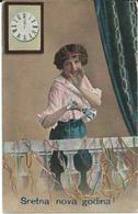 New Year Old Postcard : Motive Girl - Yugoslavia Senta Via Zagreb 1919 - Stamp - 1919 Chain Breaker - Yugoslavia
