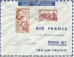 AOF , SOBRE PRIMER VUELO DAKAR/PARIS - A.O.F. (1934-1959)