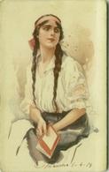 TERZI SIGNED 1910s  POSTCARD - WOMAN WITH LONG HAIR - 287/6 (BG357) - Autres Illustrateurs