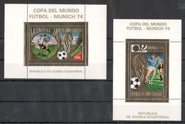 I669 GUINEA ECUATORIAL GOLD COPA DEL MUNDO MUNICH 74 OVERPRINT SOCCER 2BL MNH - Coppa Del Mondo