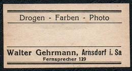 C5492 - Arnsdorf Walter Gehrmann Apotheke Drogerie - Etikett Aufkleber - Drogen Fraben Photo - Aufkleber